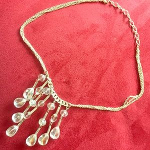 Silver tone and glass bead necklace